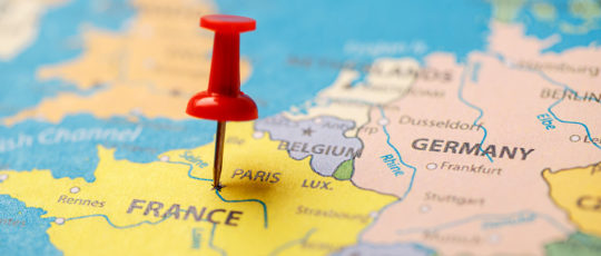 The red button indicates the location and coordinates of the destination on the map of the country of France. Concert button indicates the country and city of Paris